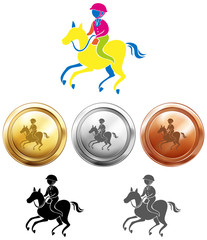 Sport icon design for esquestrain and medals