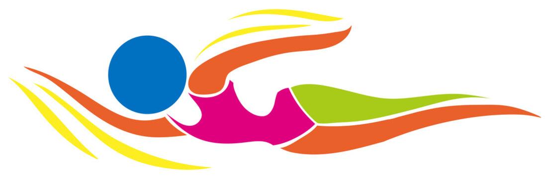 Sport icon design for swimming in color