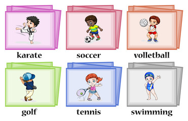 Wordcards about different sports