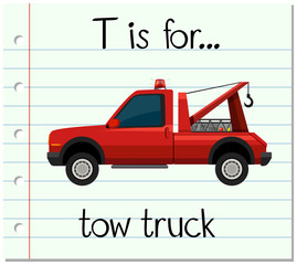 Flashcard letter T is for tow truck