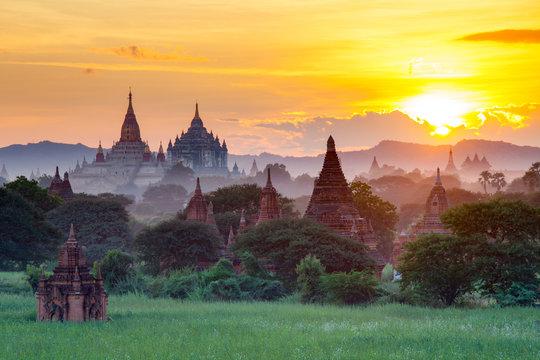 Beautiful sunset scene of Ancient Pagoda in Bagan, Myanmar