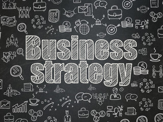 Business concept: Business Strategy on School board background