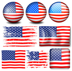 American flag in different designs