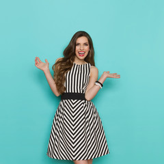Laughing Elegant Woman With Arms Outstretched