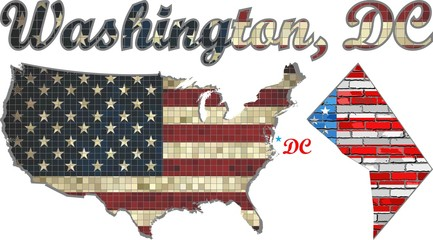 USA state of Washington, D.C. on a brick wall - Illustration,