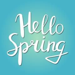 Hello Spring phrase vector lettering.