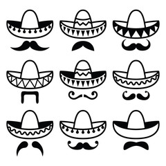 Mexican Sombrero hat with moustache or mustache icons