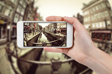 Taking photo of Amsterdam with a phone