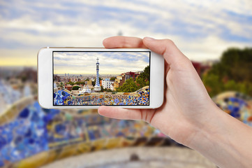 Taking photo of Park Guell with a phone