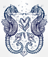 Vector seahorse with heart line art.