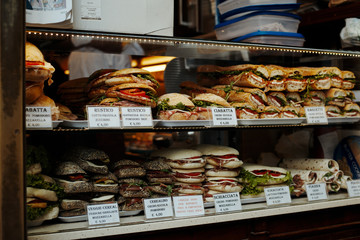 Venice , Italy - November 26, 2014: Food and snacks in the shop window in Venice