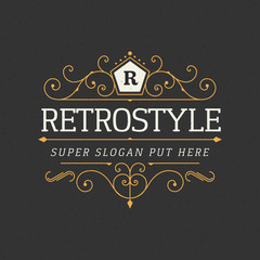 Retro vintage ornamental logo calligraphic template for luxury restaurant, cafe, hotel business