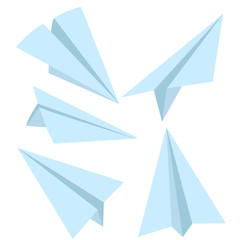 Vector Set of Blue Flat Paper Planes. Origami Airplanes.