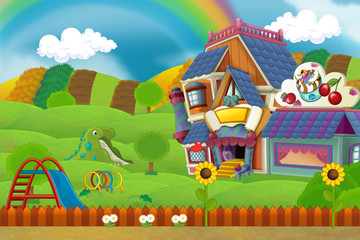 Cartoon scene of playground and colorful building with some kind of sweets - illustration for children