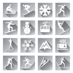 Winter sport grey web icons set of modern icons with long shadow with winter sport symbols. Vector available..
