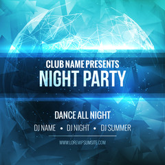 Night Dance Party Poster Background Template. Vector mockup