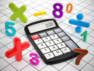 Calculator and mathematical symbols.