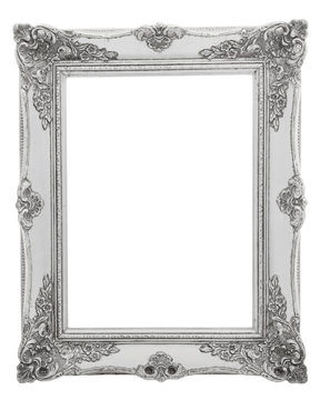 Silver victorian baroque empty picture frame on a white background