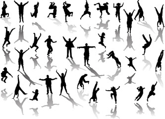 set of happy people silhouettes with shadows