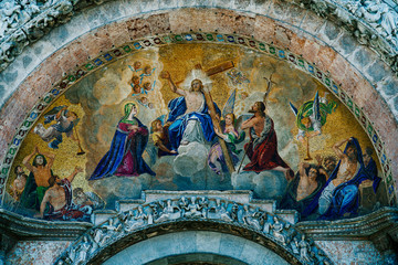 Fresco on the exterior main entrance to the Basilica de San Marco in Venice Italy