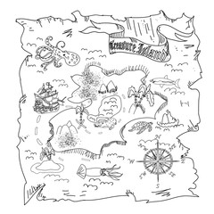 Treasure Island  map kids coloring page