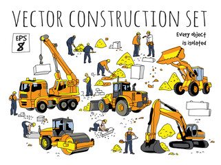 Building people and construction equipment isolated objects set.
