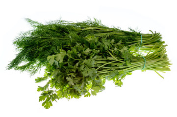 Dill and parsley beams isolated on white background.