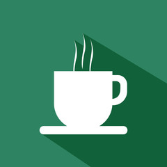 A white cup of coffee with steam and shadow, in outlines, over a green background. Digital vector image.