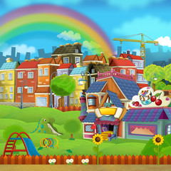 Cartoon scene of a street - small town - stage for different usage - illustration for children