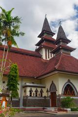 Bali island,Indonesia - May 20, 2016 : Catholic church on the island of Bali, Gereja Katolik Hati Kudus Yesus - Paroki Palasari, Jembrana