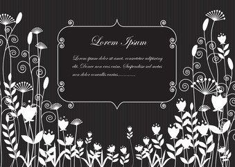 background silhouettes of white flowers on black background lines with space for text .vector illustration