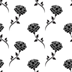 Seamless pattern of black rose with leaves.