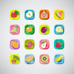 16 colored  icons of fruits with shadow.vector illustration