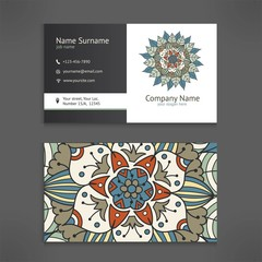 Business and visiting card template set with vintage floral mandala logo