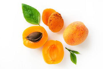 Fresh and dry apricot isolated