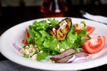The concept of healthy food: salad vegetables.
