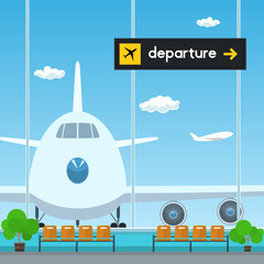 Waiting Room in Airport , View on Airplane through the Window from a Waiting Room , Scoreboard Departures from Airport, Travel Concept, Flat Design, Vector Illustration
