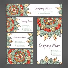 Business and visiting card set with hand drawn floral mandala