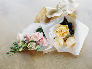 Bunch flowers wrapping in tissue paper