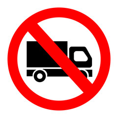 No truck forbidden sign symbol on white background.