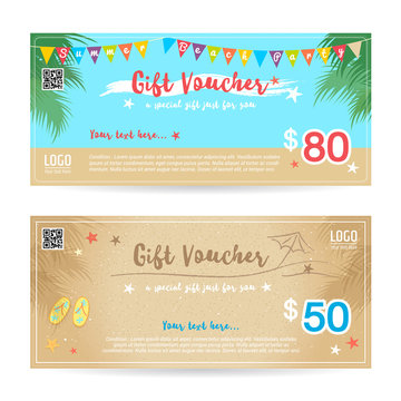 Gift certificate, voucher, coupon in summer beach party backgroud