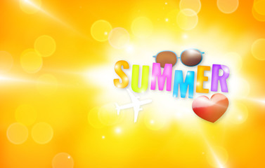 Summer time big bold bokeh letters with sunglass and heart
