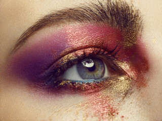 Close up of a woman with eye make up