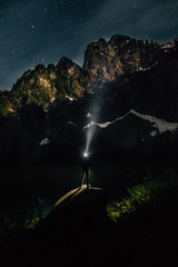 Person with Headlamp, Heather Lake at Night
