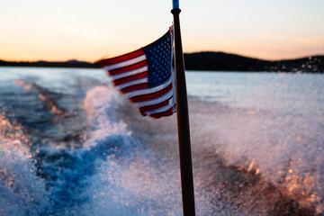 American Flag at Upper Saranac Lake