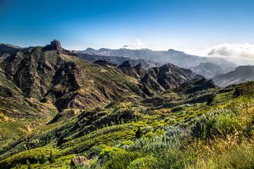 Panoramic view from  Pico de las Nieves, Gran Canaria , Spain.
