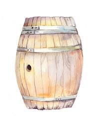 Wood barrel. Watercolor