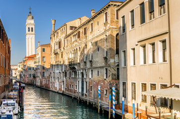 Venice Canal Lined with old Buildings
