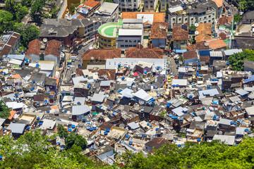 Aerial view of favela Santa Marta (Santa Marta slum) in Rio de Janeiro, Brazil.