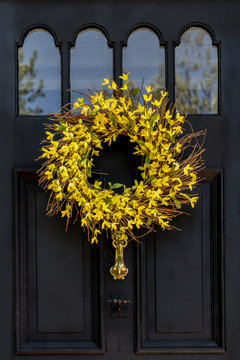 Forsythia Wreath on a front door